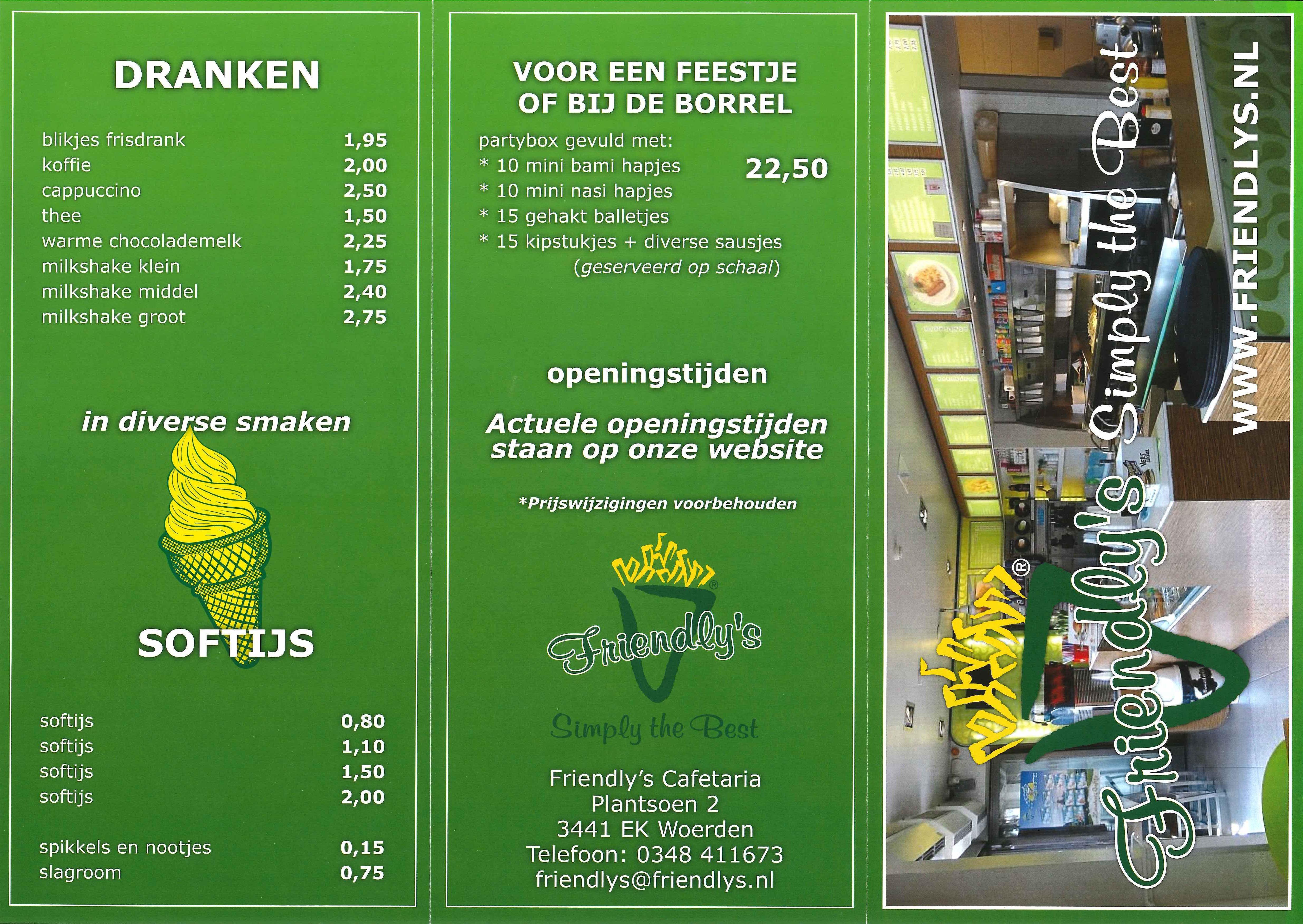 Menu Friendly's cafetaria Woerden